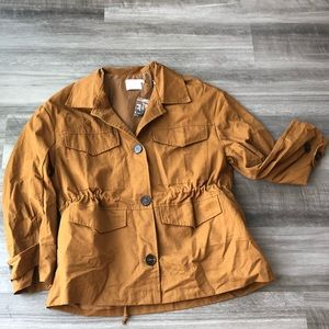Lush Brown Cognac Oversized Jacket M Button Cinch